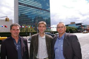 Dianova representatives in front of UN building in NY