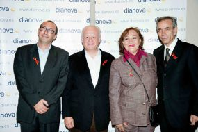 From left to right. Luca Franceschi (President of Dianova International), Juan Echanove, Nejama Bergman (President of Dianova in Nicaragua) and Imanol Arias