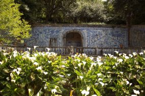 """Azulejos"" tile panel in the midst of the center's splendid gardens"