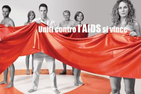 """United Against AIDS"" one of the campaign's posters in Italy"