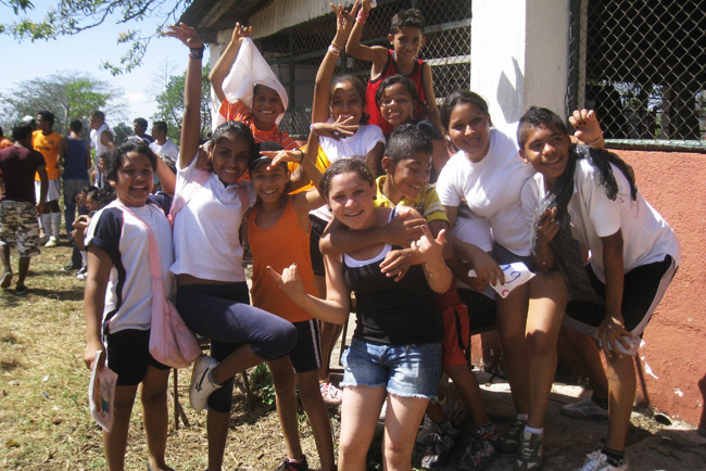 Pupils at Esther del Rio educational facility