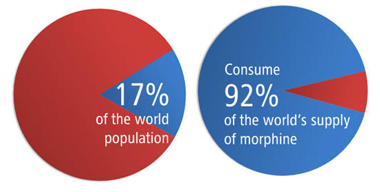 17% of the population consume 92% of the world's supply of morphine