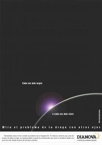 Campaña Mira el problema de las drogas con otros ojos - Dianova - universo todo oscuro o todo lleno de luz