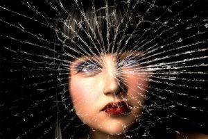 Broken glass woman