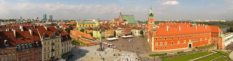 Vue panoramique sur la place du château de Varsovie