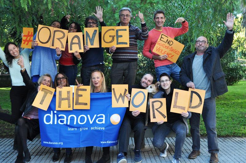 """Orange the world' - Dianova team members"