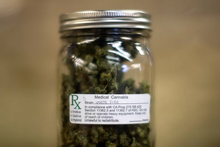 A jar of medical marijuana